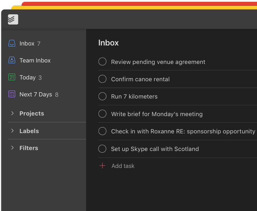 todoist premium feature theme user interface in dark mode